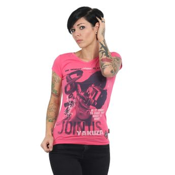 Yakuza Damen T-Shirt Join Us V-Neck GSB 13130 camellia rose rosa