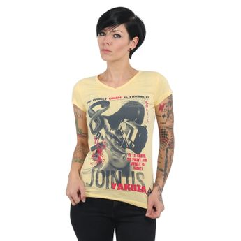 Yakuza Damen T-Shirt Join Us V-Neck GSB 13130 pale banana gelb