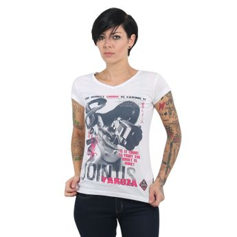 Yakuza Damen T-Shirt Join Us V-Neck GSB 13130 weiß