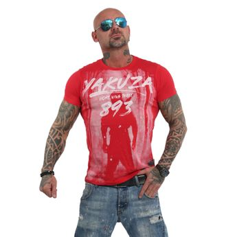Yakuza Herren T-Shirt Lock Up TSB 13026 ribbon red rot