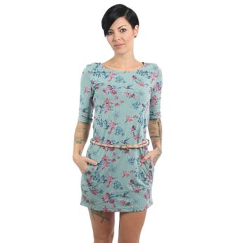 Ragwear Damen Kleid 3/4 Arm Tanya Flowers E Ice Green grün