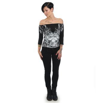 Yakuza Damen 3/4 Arm Shirt Ornamental Skull Longsleeve GLSB 13140 schwarz online kaufen