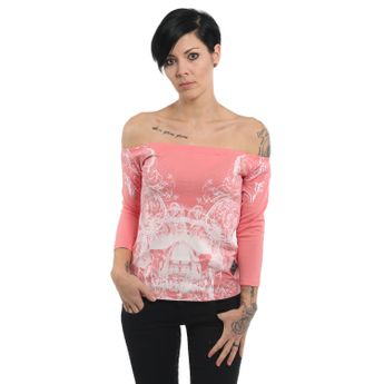 Yakuza Damen 3/4 Arm Shirt Ornamental Skull Longsleeve GLSB 13140 tea rose