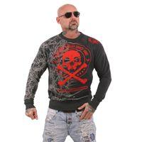Yakuza Herren Pullover Sweatshirt Thorns PB 11016RL dunkelgrau meliert 001