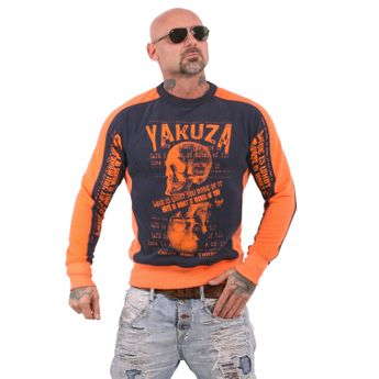 Yakuza Herren Pullover Sweatshirt Love Hate Two Face PB 11019RL dunkel blau orange