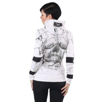 Yakuza Damen Kapuzenjacke Marble High Neck GHZB 13117 weiß online kaufen