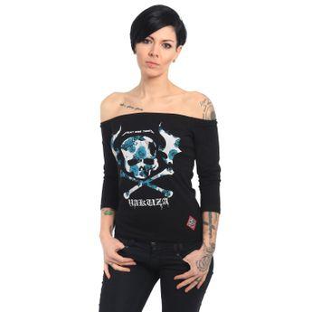 Yakuza Damen Longsleeve 3/4 Arm Flying Skull GLSB 13139 schwarz
