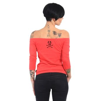 Yakuza Damen Longsleeve 3/4 Arm Flying Skull GLSB 13139 geranium rosa online kaufen