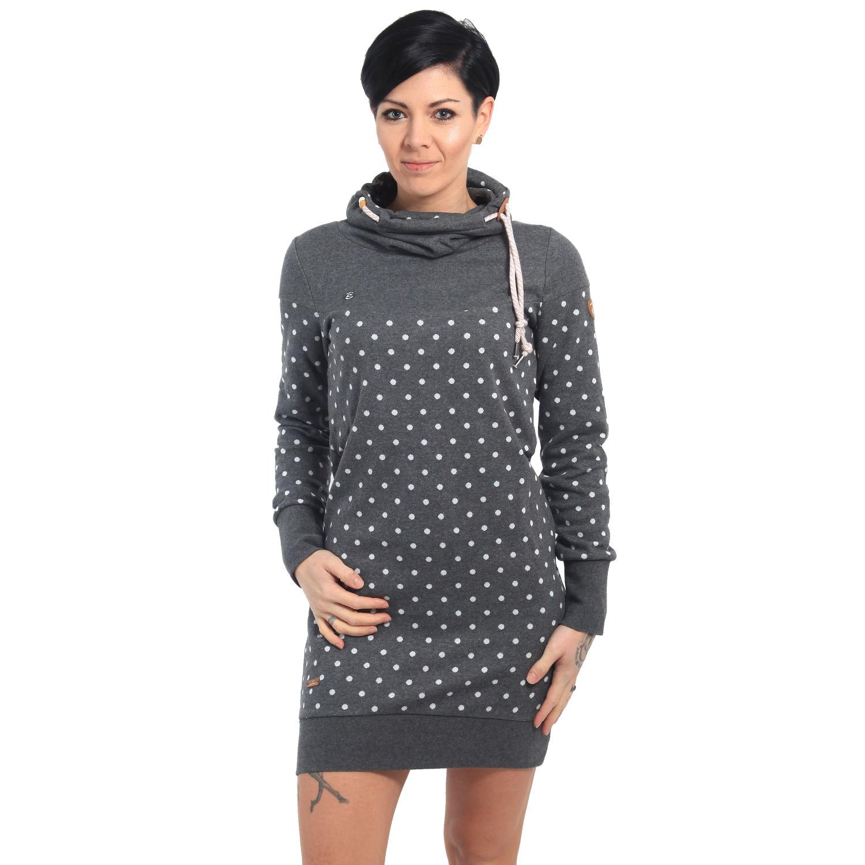 0053c381ee2e Ragwear Damen Kleid langarm Chloe grau gepunktet