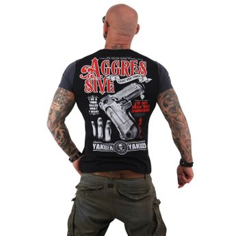 Yakuza Herren T-Shirt Aggressive Two Face TSB 13040 schwarz
