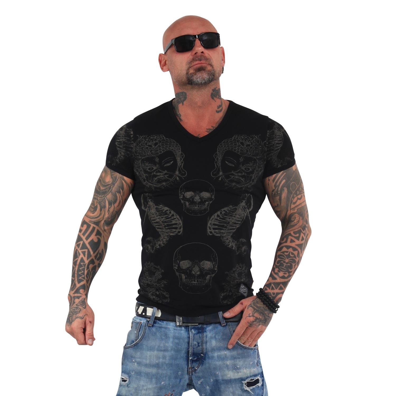 Yakuza Herren T-Shirt Temple V-Neck TSB 13035 schwarz