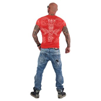 Yakuza Herren T-Shirt Temple V-Neck TSB 13035 ribbon red rot online kaufen