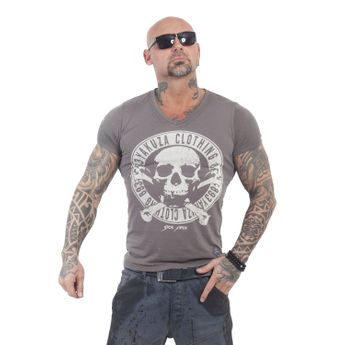 Yakuza Herren T-Shirt Daily Jolly V-Neck TSB 13037 dark gull gray grau
