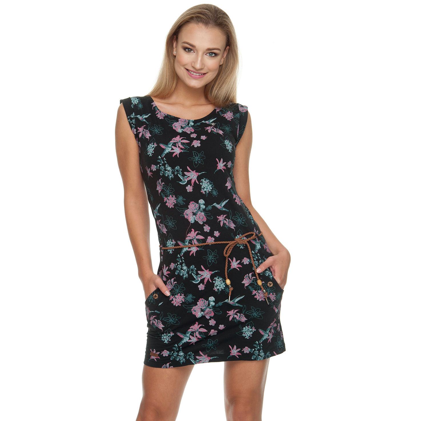 Ragwear Damen Sommer Kleid Tag Flowers schwarz