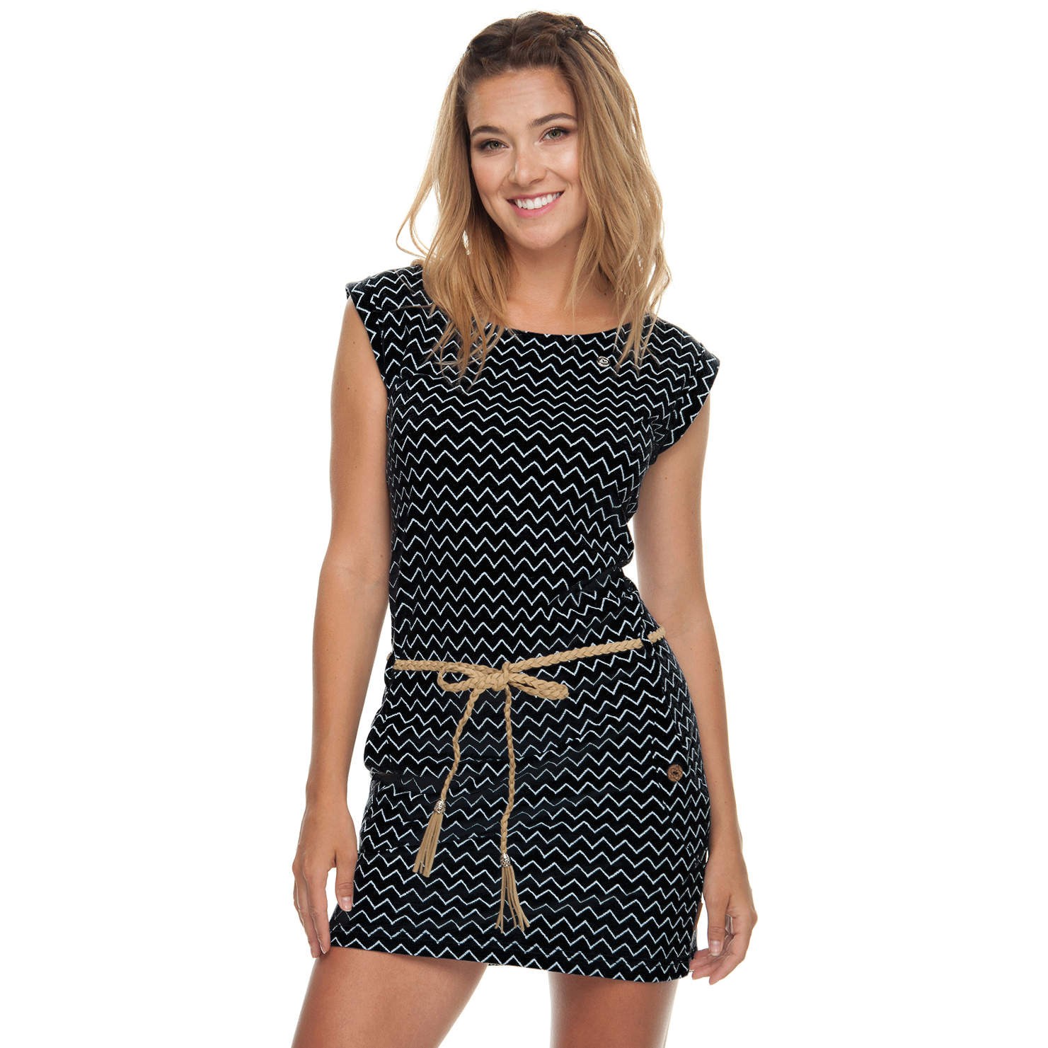 Ragwear Damen Sommer Kleid Tag Zig Zag schwarz