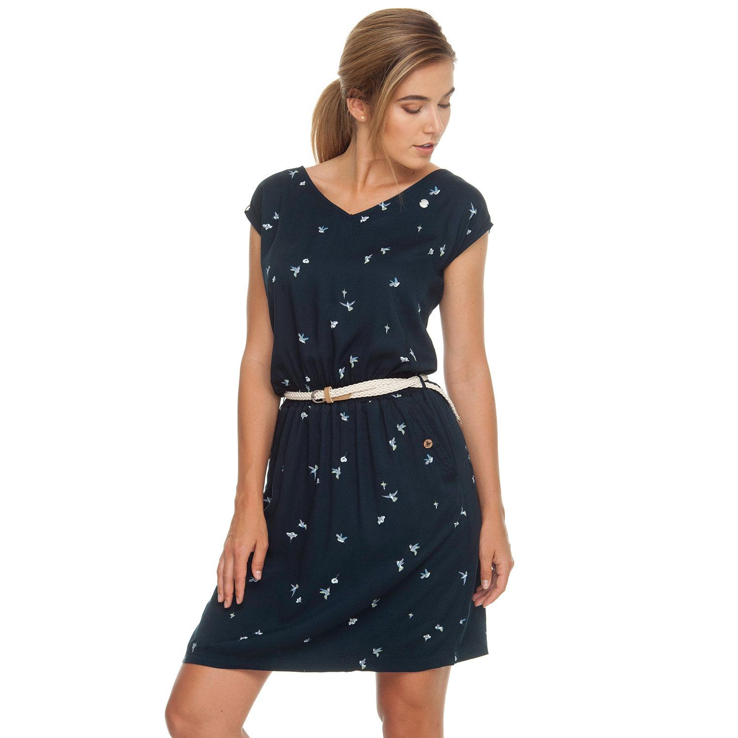 Ragwear Damen Kleid mit Gürtel V Neck Carolina navy blau