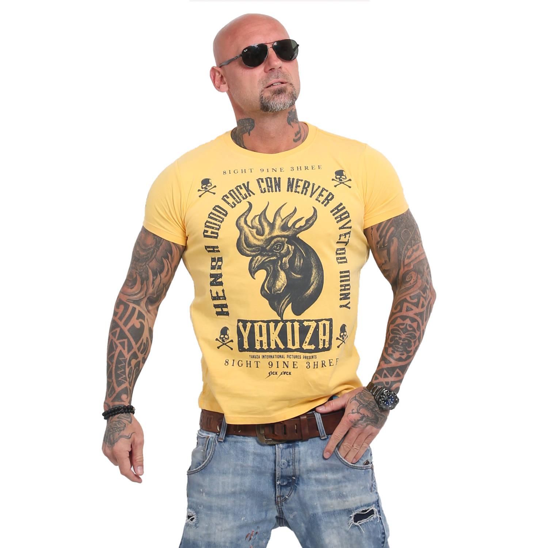 Yakuza Herren T-Shirt Good Cock TSB 14043 pale marigold gelb