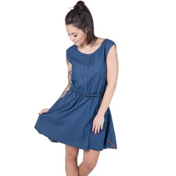 Alife and Kickin Damen Jeans Kleid Scarlett A Dress dark denim circles blau