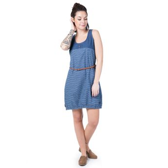 Alife and Kickin Damen Kleid Doja D Dress dark denim stripes blau online kaufen
