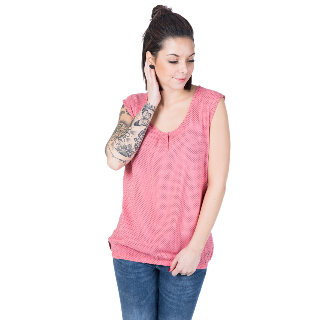 Alife and Kickin Damen Shirt Bluse Ella Blouse coral circles rosa