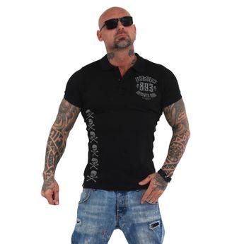 Yakuza Herren Polo-Shirt Memento Mori Pikee TPO 14068 schwarz