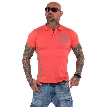 Yakuza Herren Polo-Shirt Memento Mori Pikee TPO 14068 geranium rosa
