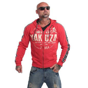 Yakuza Herren Kapuzenjacke Bad Side Zip Hoodie HZB 14010 ribbon red rot