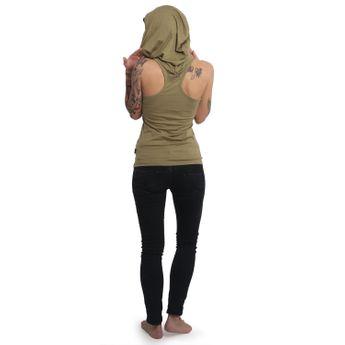 Yakuza Damen Tank Top T-Shirt mit Kapuze No Me Jodas GSB 14156 boa oliv online kaufen