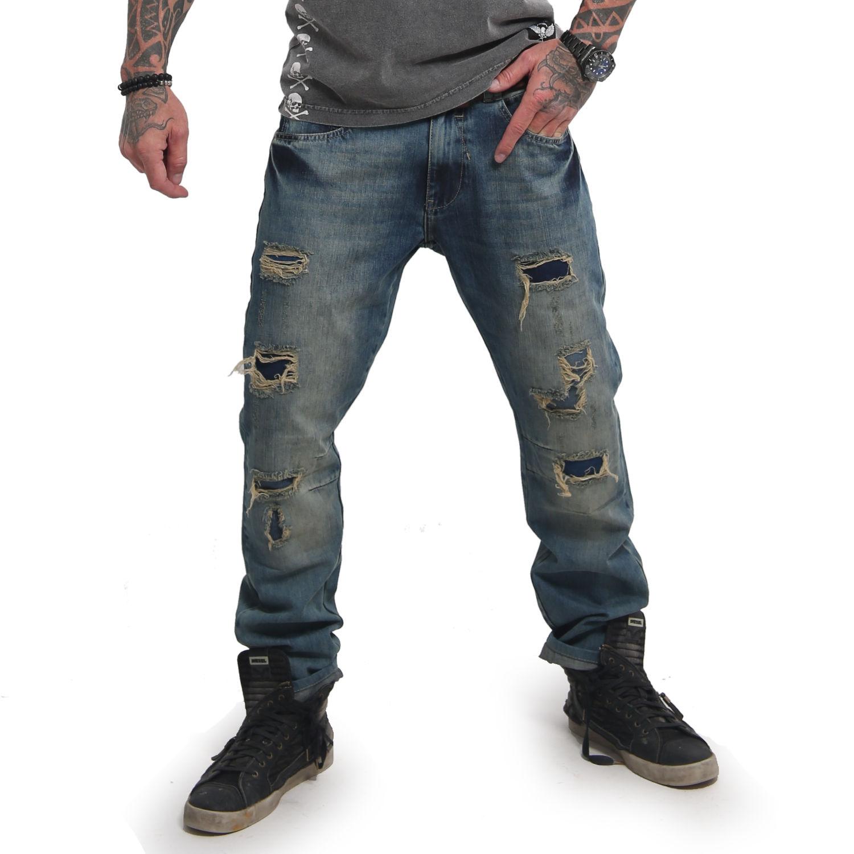 Yakuza Herren Jeans Biker Straight JEB 14084 medium distressed blau
