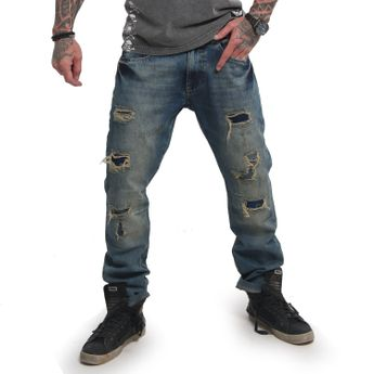 Yakuza Herren Jeans Biker Straight JEB 14084 medium distressed blau