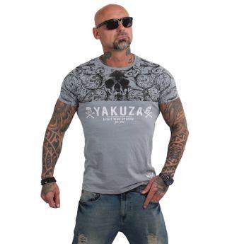 Yakuza Herren T-Shirt Ornamentic Skull TSB 14054 monument grau