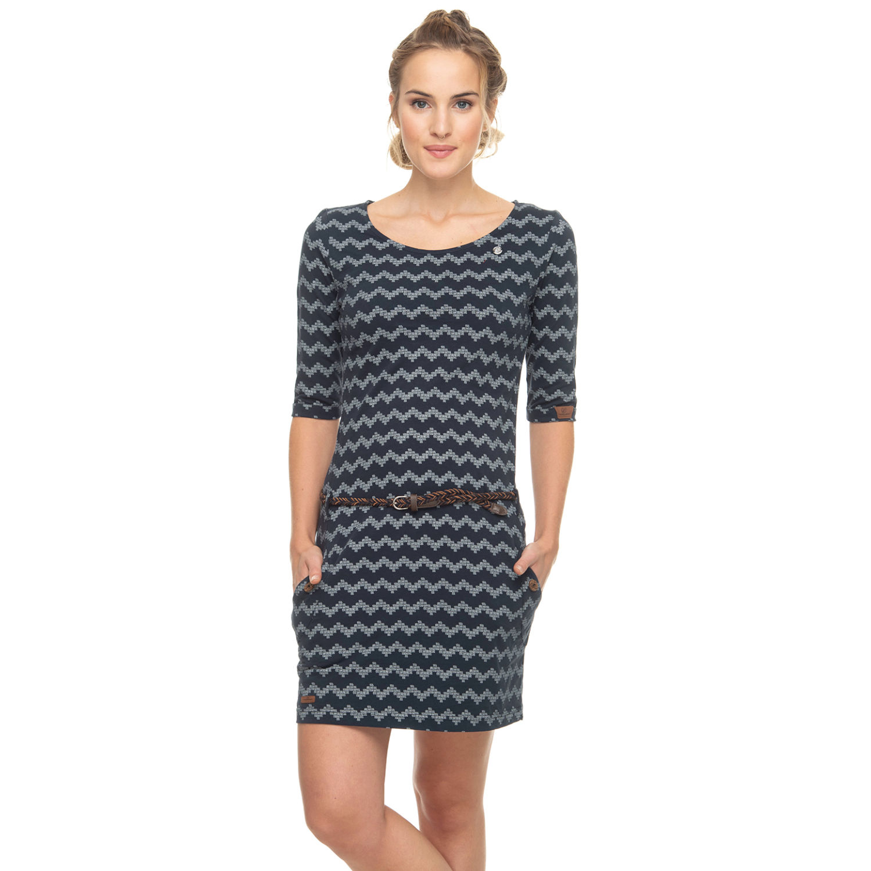 Ragwear Damen Kleid 3/4 Arm Tanya Zig Zag navy blau