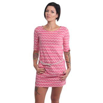 Ragwear Damen Kleid 3/4 Arm Tanya Zig Zag pink
