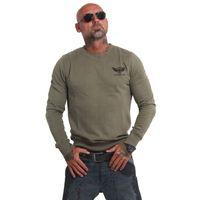 Yakuza Herren Pullover Sweatshirt Basic Line EMB Crew PB 14074 dark oliv 001