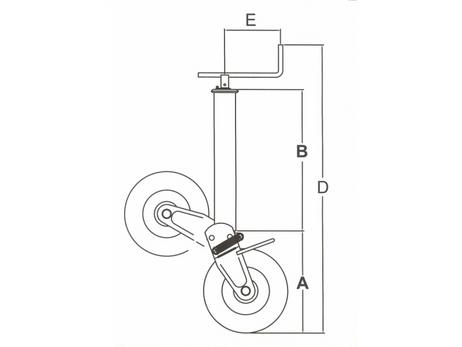 SIMOL Stützrad 1000 kg halbautom. Klappvorgang mit Feder und Montageplatte – Bild 5
