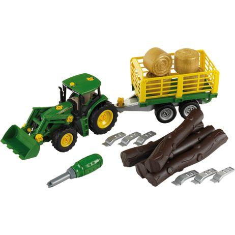 K3906 Klein John Deere Traktor mit Holz- und Heuwagen
