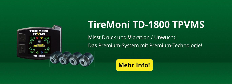 TPVMS TD-1800-X TireMoni Reifendruck- und Vibrations-Kontrollsystem, externe Sensoren