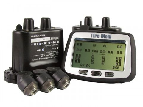Reifendruckkontrollsystem TireMoni Truck TPMS Set TTM-2000X-DR08-R06: 16 Sensoren, 2 Repeater