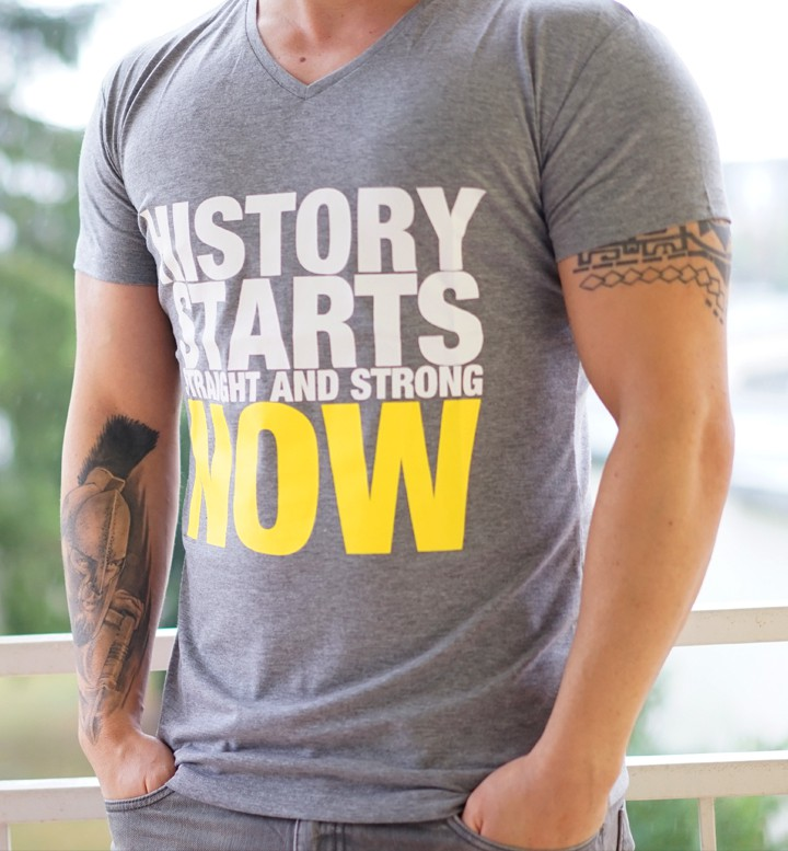 Men T-Shirt History Starts Now hellgrau by Straight and Strong 001