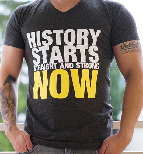 Men T-Shirt History Starts Now dunkelgrau by Straight and Strong