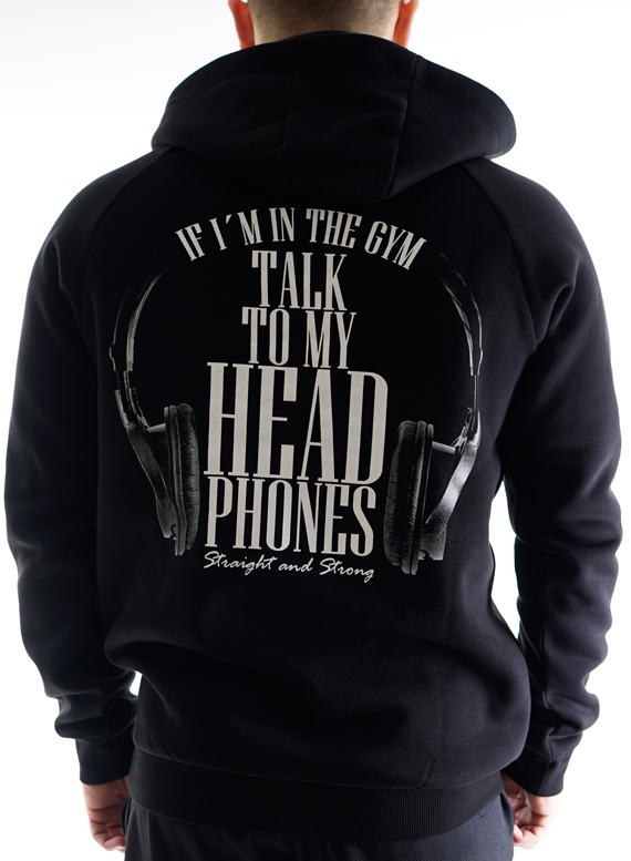 Talk to my Headphones Hoodie Men by Straight and Strong 001