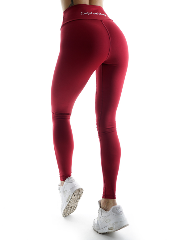 Athletic Power Bordeaux Fitness Leggings by Straight and Strong 001