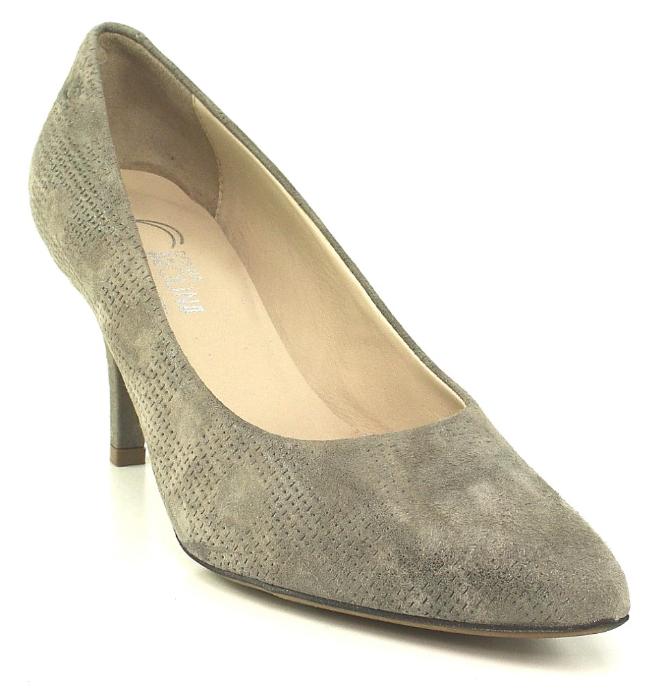 Donna Carolina Pumps grau marilyn cocco spitz Punkt Muster