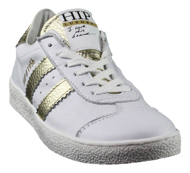 HIP | Low Top Sneaker | Schnürschuh - weiß | gold