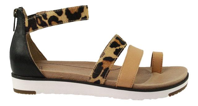 UGG Mini Leopard | Riemchen Sandale | Zehensteg - beige