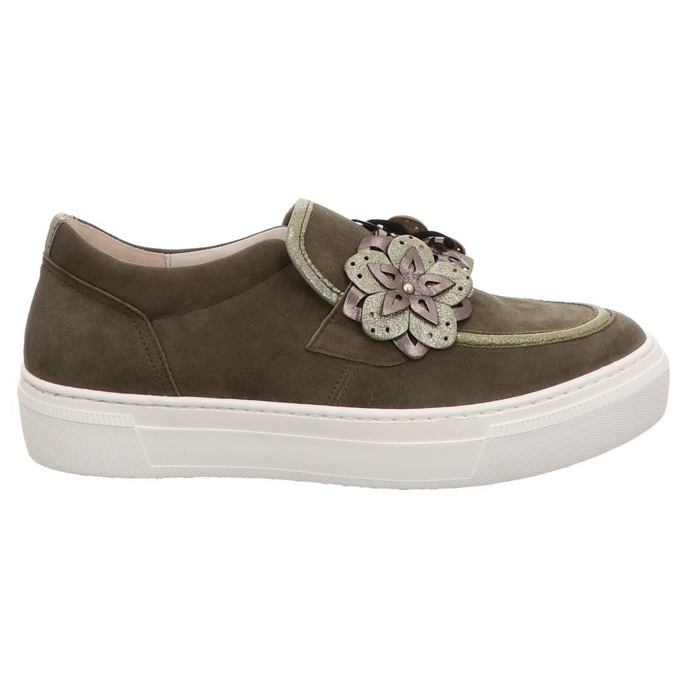 Gabor | Fashion | Slipper | Blumen - grün | oliv