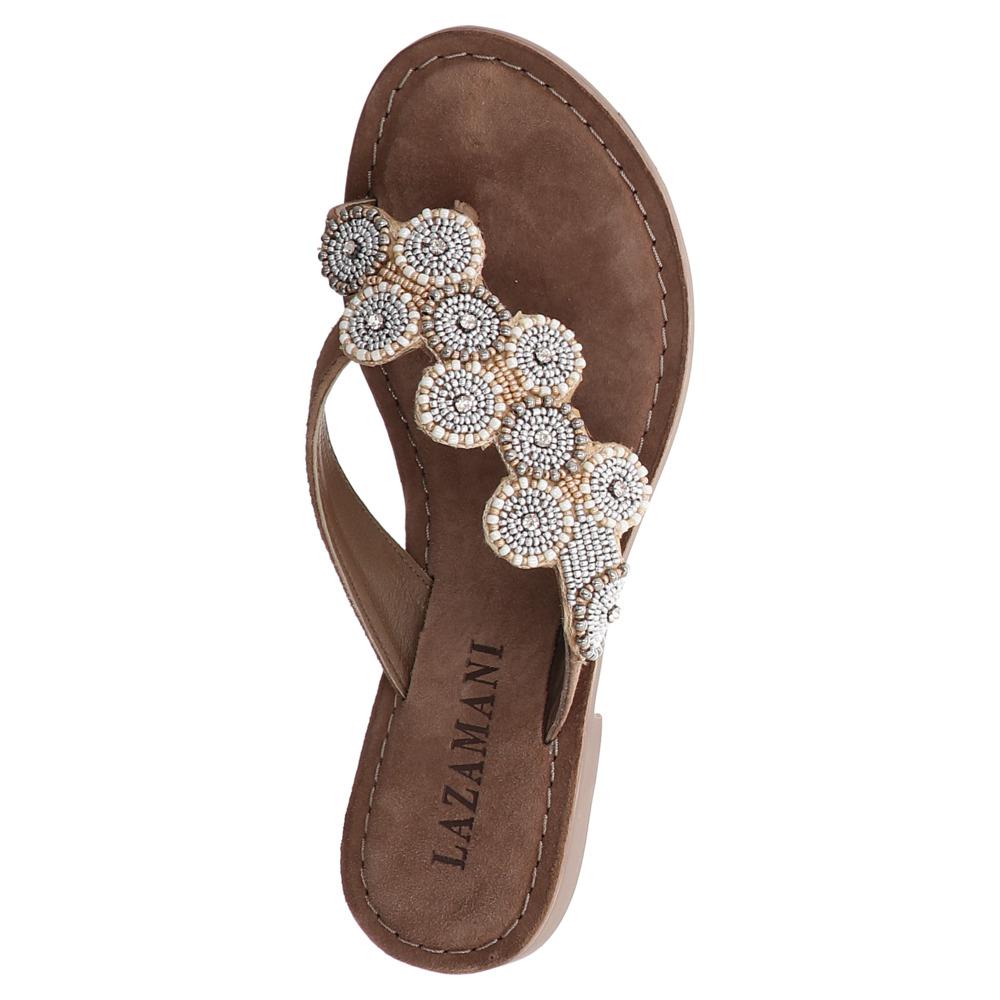 Lazamani   Pantolette   Flats - braun   off white