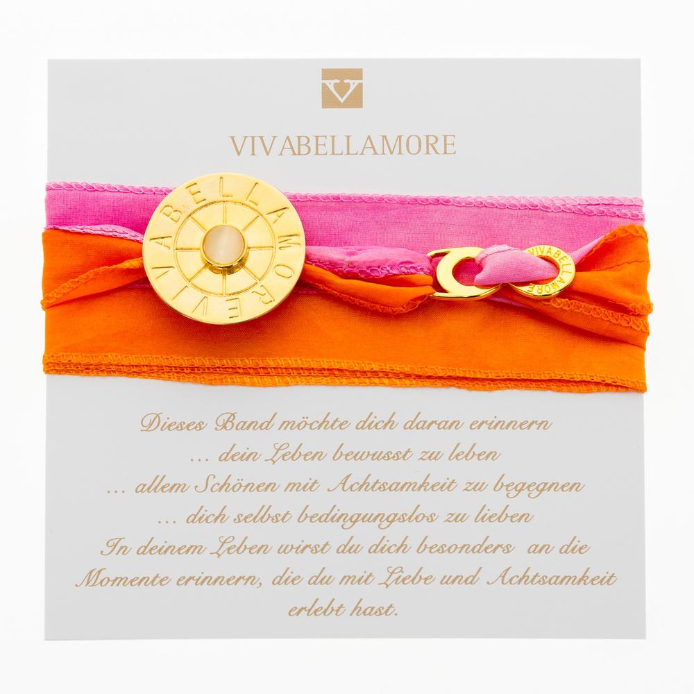Vivabellamore   Seiden Armband   AR 197 - pink   orange