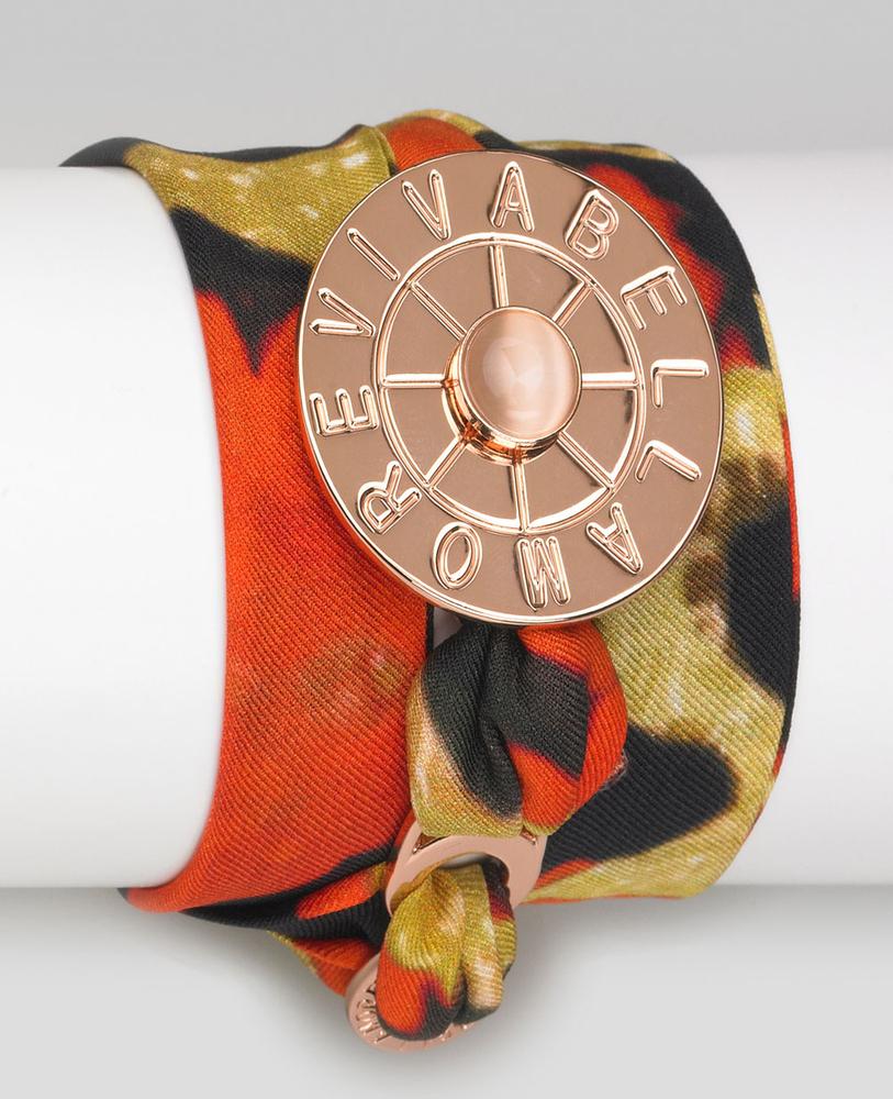 Vivabellamore   Seidenarmband  - orange rot   leo