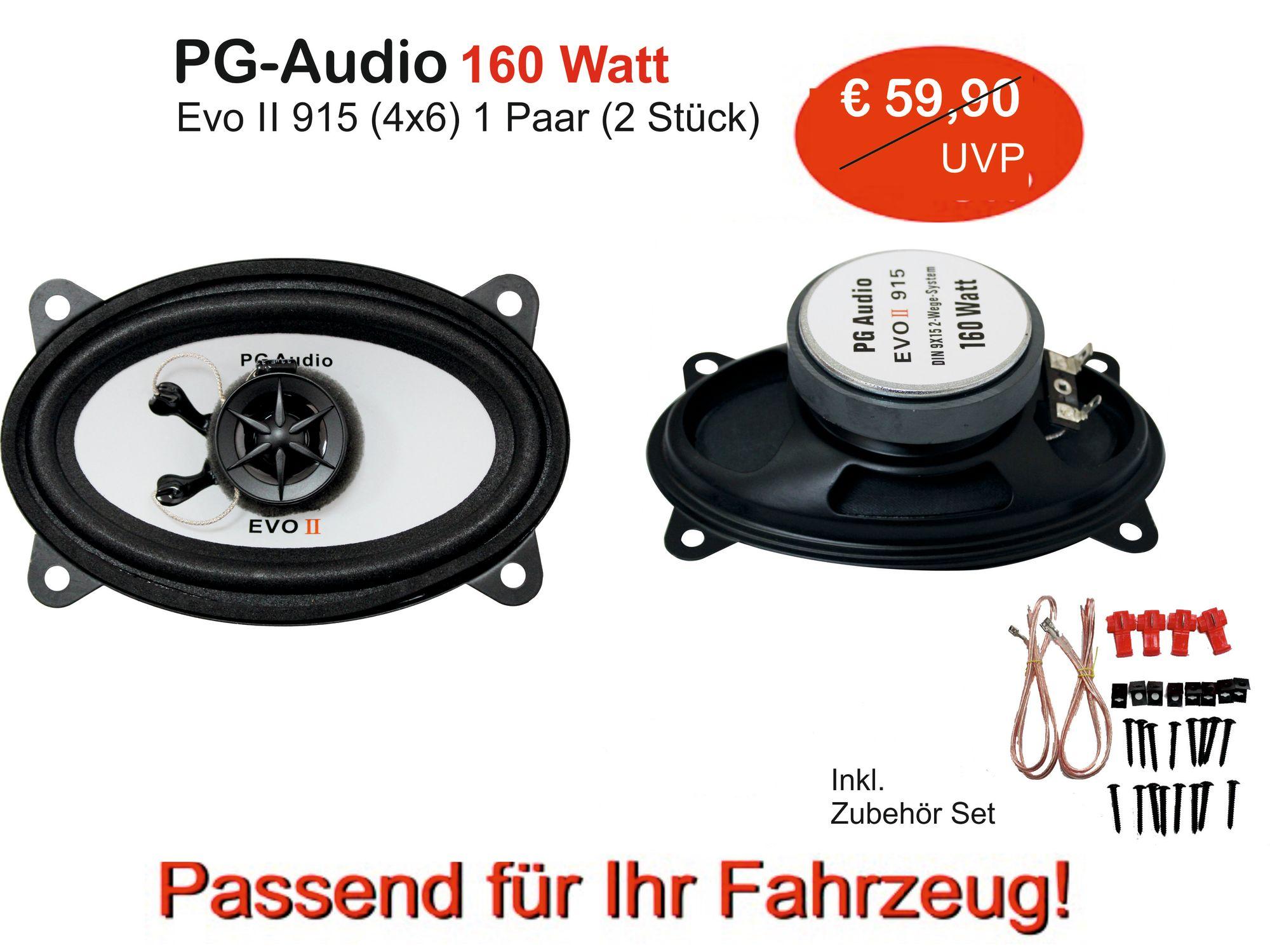 PG Audio 9x15 cm , 2 Wege Koax-Lautsprecher ,4x6 Zoll,160 Watt, 1 Paar Neu 001